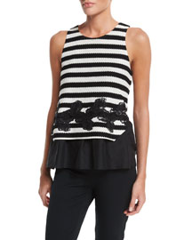 Striped Knit Sleeveless Top, Black/Creme