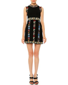 Sleeveless Garden-Stripe Mini Dress, Black Multi