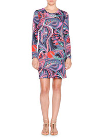 Long-Sleeve Multi-Print Shift Dress, Nero/Smeraldo