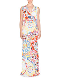 Sleeveless Mosaic-Print Maxi Dress, Celeste/Multi
