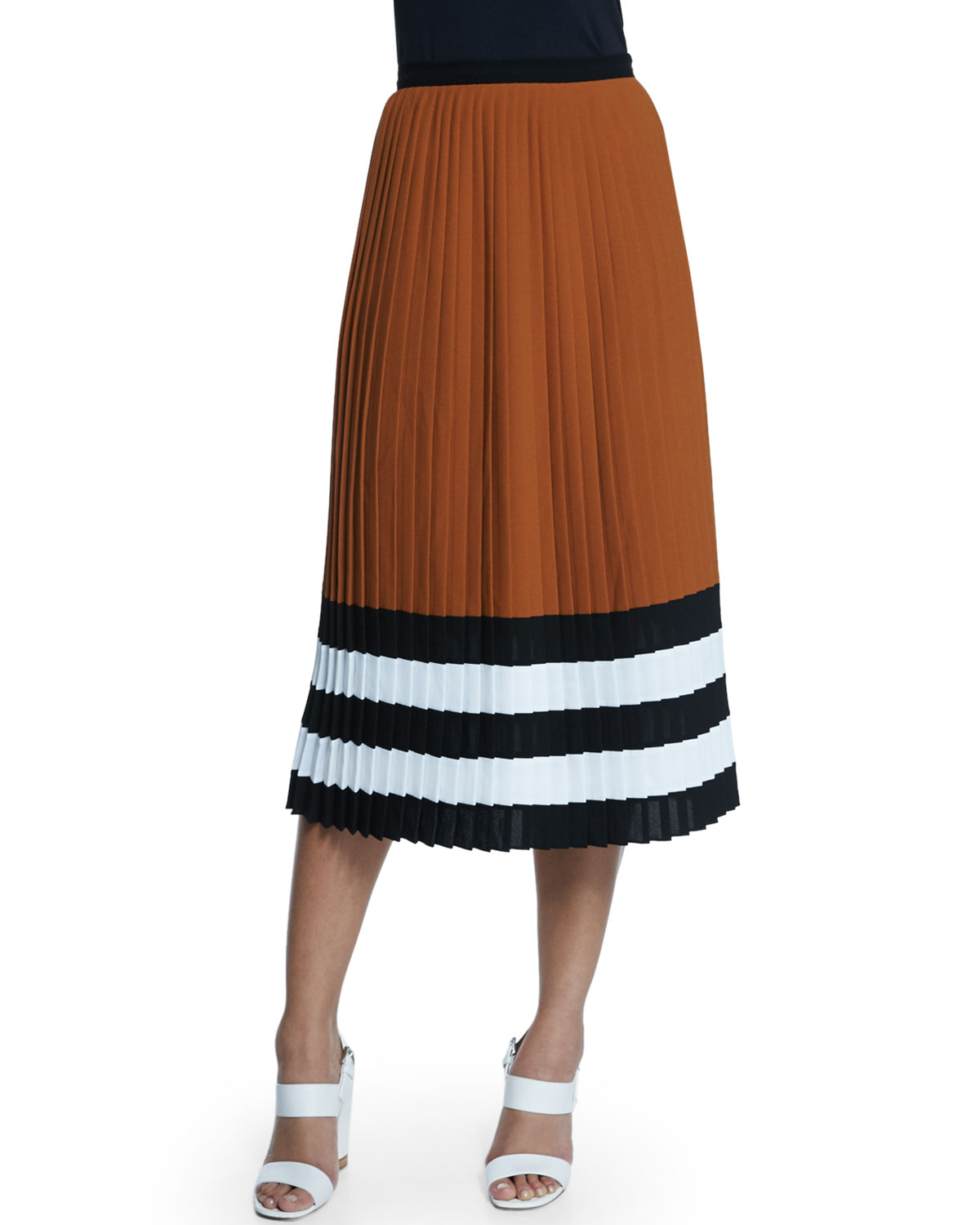 Michael Kors Collection Techno Georgette Pleated Midi Skirt, , Women's, Size: 0 Brown/Gold (Caramel)