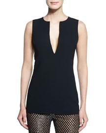 Plunge-Neck Sleeveless Wool Top, Black