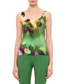 Grand Hedge Sleeveless Floral-Print Silk Crepe Top, Multi