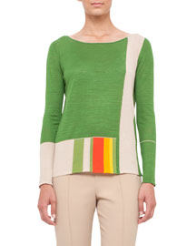 Long-Sleeve Knit Linen/Silk Colorblock Top, Multi