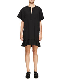 Short-Sleeve Peplum-Hem Dress, Black