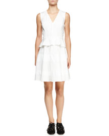 Sleeveless V-Neck Poplin Peplum Dress, Optic White