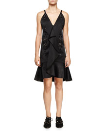 Eyelet-Embellished Ruffle-Front Dress, Black