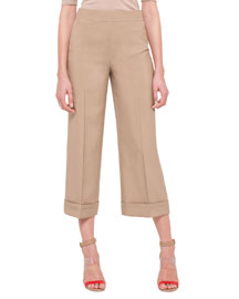 Cropped Wide-Leg Shantung Pants, Beige