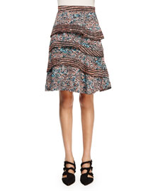 Printed Silk Georgette Tiered Skirt
