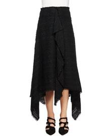 Asymmetric-Hem Tweed Skirt, Black