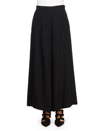 Wide-Leg Crepe Pants, Black