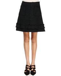 Tweed Patch Pocket A-Line Skirt, Black
