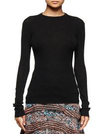 Long-Sleeve Open-Back Sweater, Black
