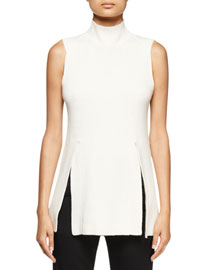 Sleeveless Mock-Neck Tunic Sweater, Off White