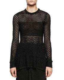 Long-Sleeve Open-Stitch Sweater, Black