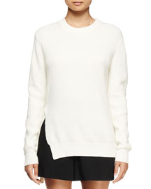 Ribbed Crewneck Long-Sleeve Sweater, Off White