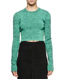 Heathered Long-Sleeve Crop Top, Jade/Black
