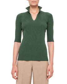 Half-Sleeve Knit Stand-Collar Top, Algae