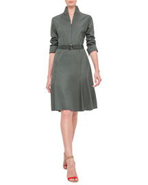Long-Sleeve Mock-Neck A-Line Dress, Algae