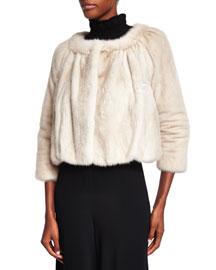 Cropped Mink Fur Jacket, Pearl