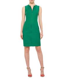 Reversible Sleeveless Zip-Front Sheath Dress, Bonsai/Beige
