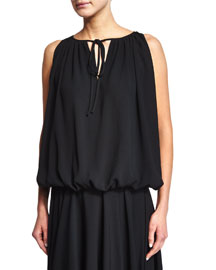 Sleeveless Pleated Tie-Neck Top, Black