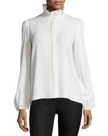 Bishop-Sleeve Ruffle-Collar Blouse, Ivory