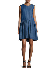 Sleeveless Denim Peplum Dress, Indigo