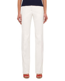 Straight-Leg Cotton-Silk Denim Pants, Anemone