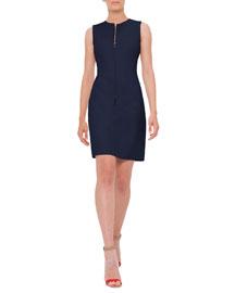 Reversible Sleeveless Zip-Front Sheath Dress, Navy/Off White
