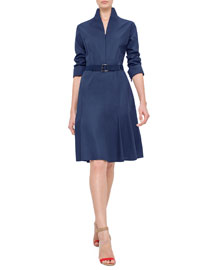 Long-Sleeve Mock-Neck A-Line Shirtdress, Navy