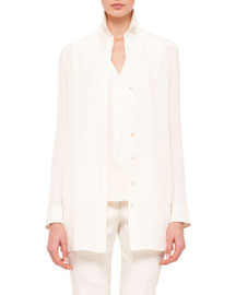 Long-Sleeve Silk Crepe Tunic Blouse, Anemone