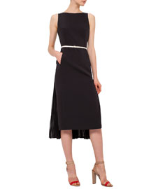 Sleeveless Silk Crepe Sheath Dress, Black