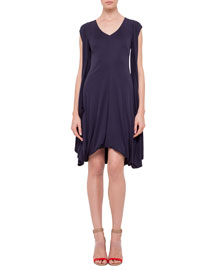 Cap-Sleeve Draped Jersey Dress, Navy