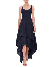 Sleeveless High-Low Jersey Dress, Navy
