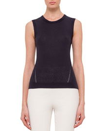 Sleeveless Round-Neck Top with Keyhole, Navy