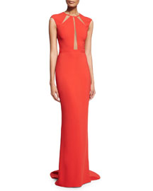 Crepe Cady Open-Back Illusion Gown, Coral