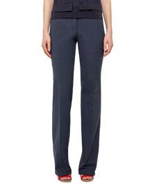 Straight-Leg Cotton-Silk Denim Pants, Navy
