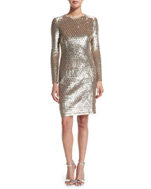 Sequined Long-Sleeve Dress, Gold