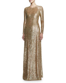 Sequined Wave-Print Long-Sleeve Gown, Gold
