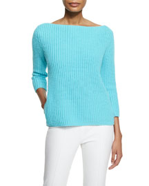 Chunky-Knit Cashmere Sweater, Harbor