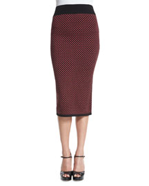 Diamond Jacquard Pencil Skirt, Geranium/Caramel
