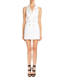 Sleeveless Double-Breasted Blazer-Dress, White