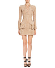 Lace-Front Suede Cargo-Pocket Dress, Tan