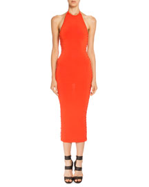 Side Lace-Up Halter Midi Dress, Coral