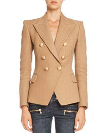 Double-Breasted Tweed Jacket, Tan