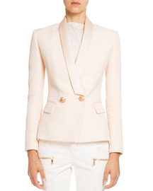 Shawl-Collar Tuxedo Jacket, Sable Blanc