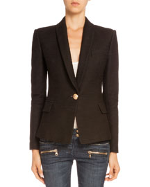 Tweed One-Button Jacket, Black
