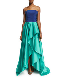 Strapless Bicolor Faille Gown, Navy/Aqua