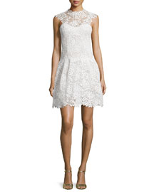 Mock-Neck Guipure Lace Dress, Silk White